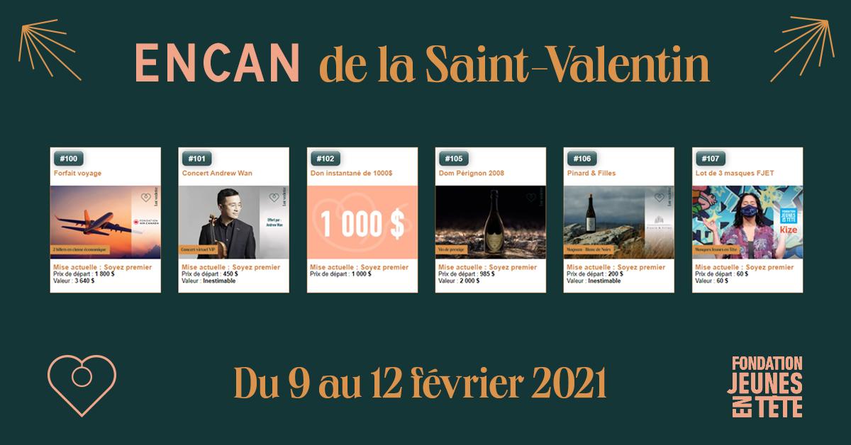 Encan de la Saint-Valentin - Du 9 au 12 février 2021